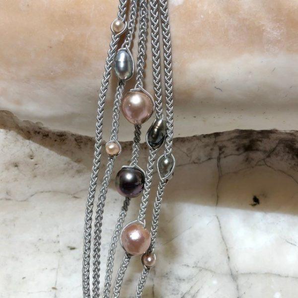 Unikat rosa Perlen
