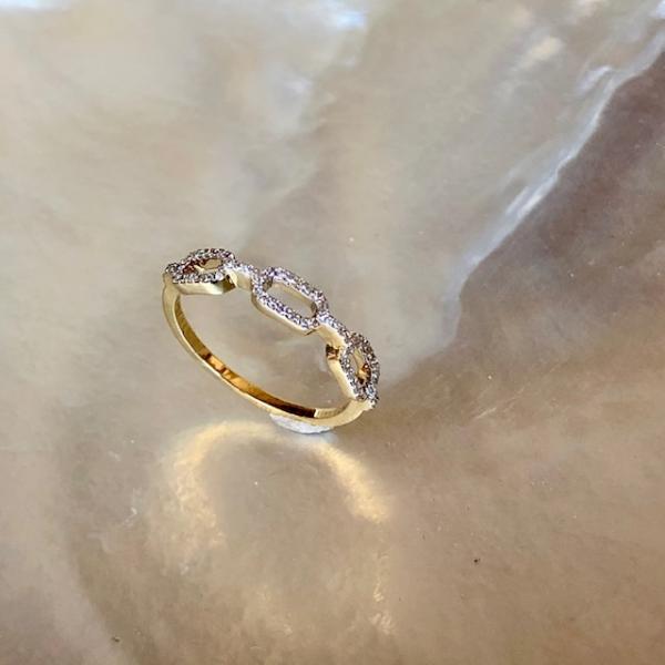 Gelbgold Ring Kette Retro