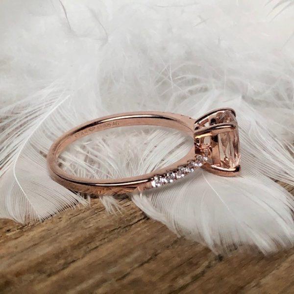 Verlobungsring Morganit Brillanten seitlich rosegold 585 Engagement Star Diamant