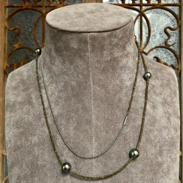 Langes Gellner Big Bang Collier aus Silber schwarz mit 6 Tahitiperlen peacock, ohne Verschluss, 110cm lang, Einzelstück, reduziert, Angebot