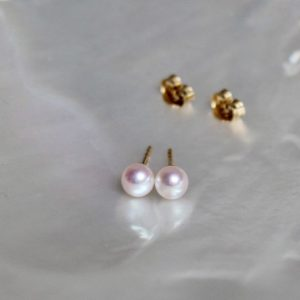 Wunderbar schimmernd Akoya-Perl-Ohrstecker mit Gelbgoldstift 18k ca 5mm Gellner Juwelier Haarhaus