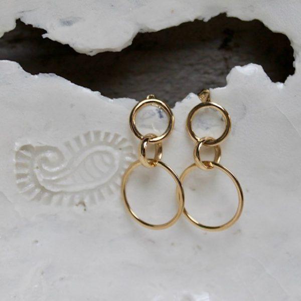 lange Ohrringe aus 585 Gelbgold mit Stecker, aus drei Ringen, beweglich, zeitlos, nachhaltig