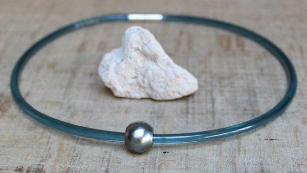Monika-Seitter-Apollo-Collier-petrol-Kunststoff-Silber-Tahiti-Perle-in allen Längen bestellbar, hier 42cm