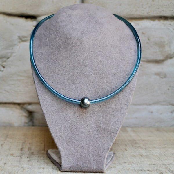 Monika-Seitter-Apollo-Collier-petrol-Kunststoff-Silber-Tahiti-Perle
