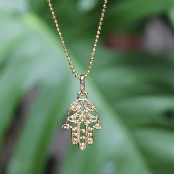 Fatimas Hand Anhänger Kette Gelbgold 585 14k echt gold kugelkette Hamsa-Khamsa-Schutz-Symbol