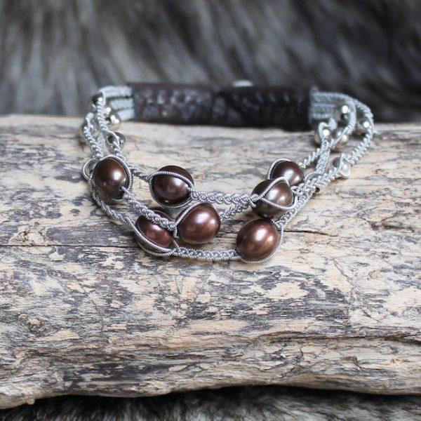 saami crafts Armband AP014MY Braun 7 braune Süsswasser Perlen