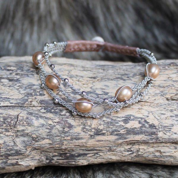 saami crafts Armband AP029PR Apricot-Rose 5 Süsswasser Perlen apricotrose