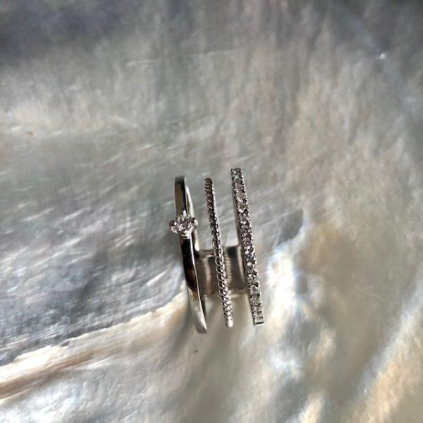 Boho Weissgold Ring Brillant