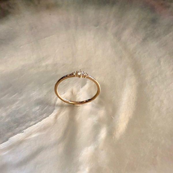 Roségold Ring 3 Brillanten zart Boho