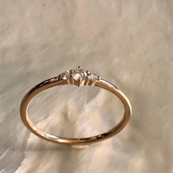 Rosegold Ring Verlobung 3 kleine Brillanten