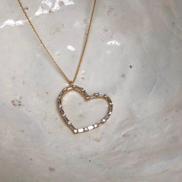 ox Silberkette gelb vergoldet Herz Anhänger Zirkonia Valentinstag Geschenk Überraschung