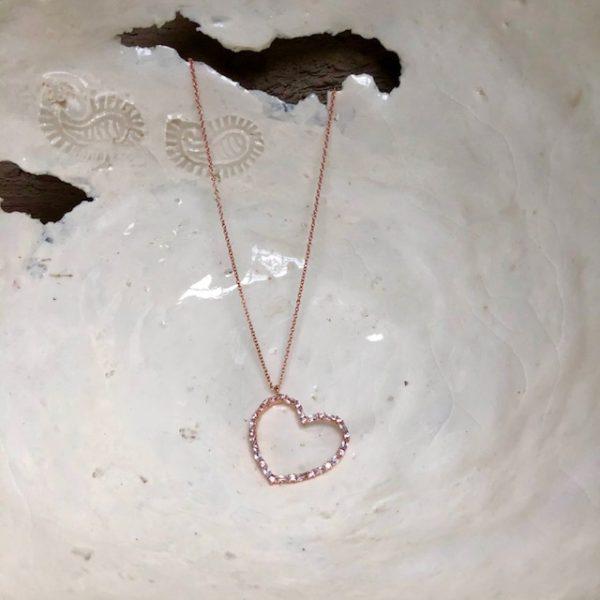 Silberkette rosé vergoldet Herz Anhänger Valentinstag Xenox