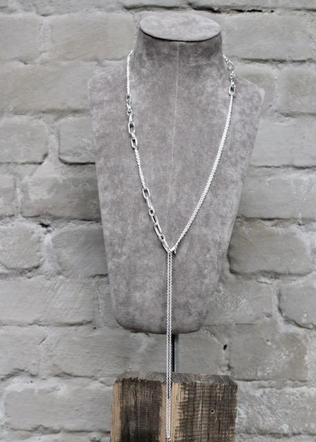 Quinn-Silber-Kette-lang-eckige-Elemente-02739910-Y-Collier variabel
