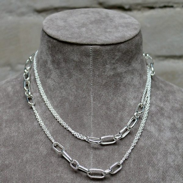 Quinn-Silber-Kette-lang-eckige-Elemente-02739910-doppelt Länge 100cm
