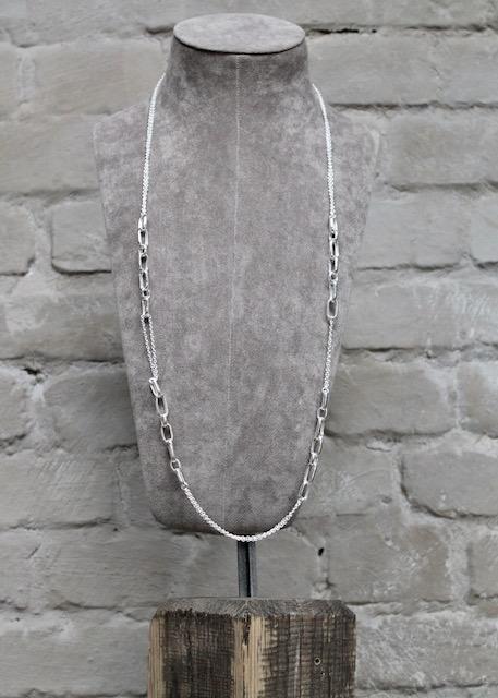 Quinn-Silber-Kette-lang-eckige-elemente-02739910 Länge 100cm 3 Tragemöglichkeiten individuell