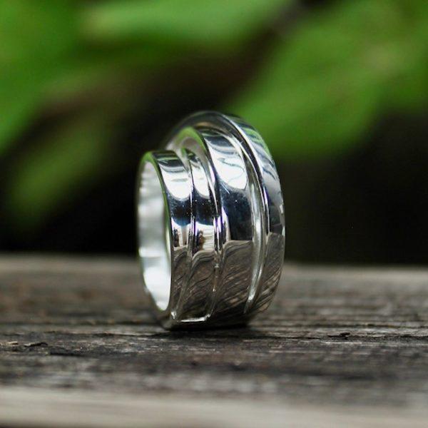 Quinn-Silber-Wickelring-Ring-0227927 sehr lässig und sehr cool 5 miteinander fest verbundene Ringe