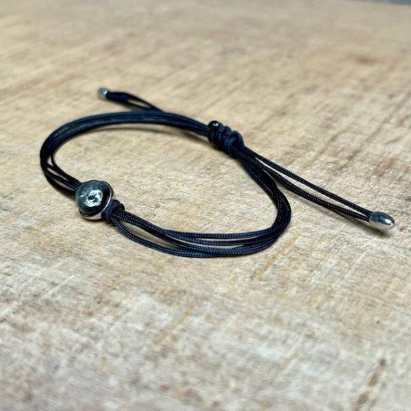 4-reihiges, schwarzes Textilarmband mit Brillant in einer Glaskkugel - Schmuckwerk-Glasklar-Armband-Schwarz-Brillant-Edelstahl-DA177-Haarhaus