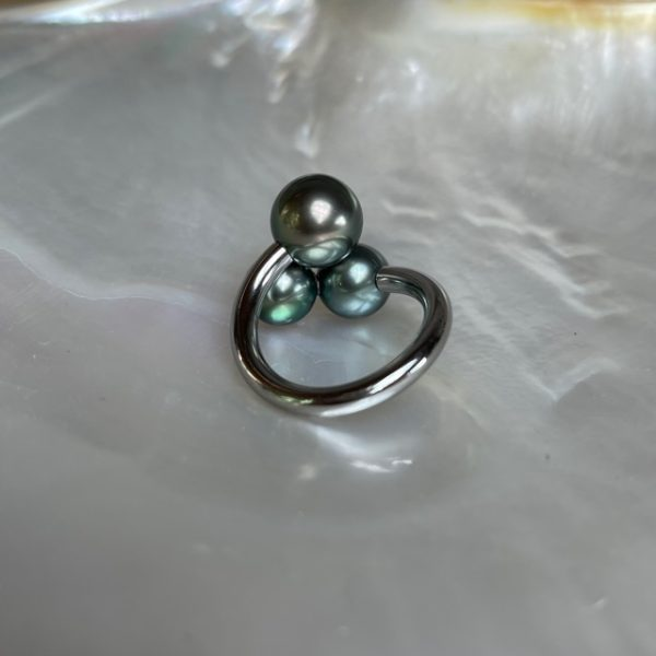 Schmuckwerk Perlenrausch Drilling Ring Tahiti Perlen KR951ST-T liegende Rückansicht