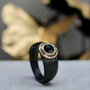 Schwab-Carbon-Ring-Brillantkranz-aus-Rosegold-18k-750-Schwarzer-Diamant-Rosenschliff-RC1541502